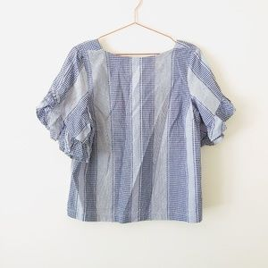 Laundry by Shelli Segal blue gingham ruffle top
